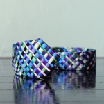 handmade woven tie, blue scale