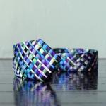 handmade woven tie, blue scale