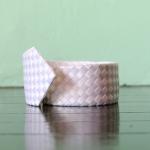 handmade woven tie, white