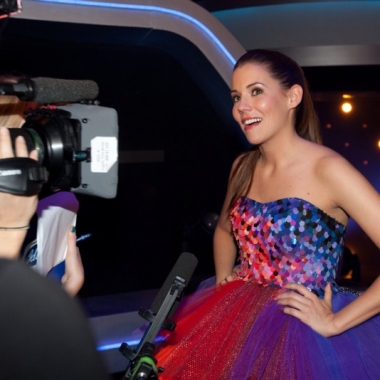 Marion Ravn wearing IBO dress and shoes at the Idol final, photo: Roger Fosaas