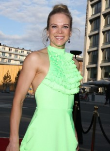 """Norwegian actress Ane Dahl Torp wearing IBO dress and clutch at the opening night of """"Skjelvet"""" at Colusseum Kino in Oslo, August 2018."""