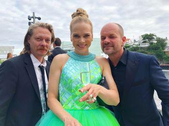 """Norwegian actor Kristoffer Joner, actress Ane Dahl Torp and script author Harald Rosenløw Seg at the opening night of """"Skjelvet""""."""