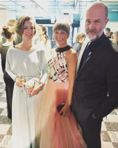 Member og Parliament for the Norwegian Labor party, Anette Trettebergstuen at the Amanda awards in Haugesund wearing IBO-dress and clutch. Here with Kirsten Thorseth Poppe(also wearing IBO-dress) and her husband and director Erik Poppe.